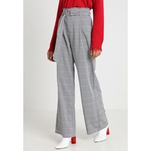 Pants - 🆕 Gray High Waist Check Wide Leg Belt Trousers